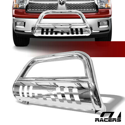 for 2010-2018 Dodge Ram 2500 3500 Black Powder Coated Steel Bull Bar Brush Grill Bumper Guard with Skid Plate /& Light Holes Super Drive B02G0825