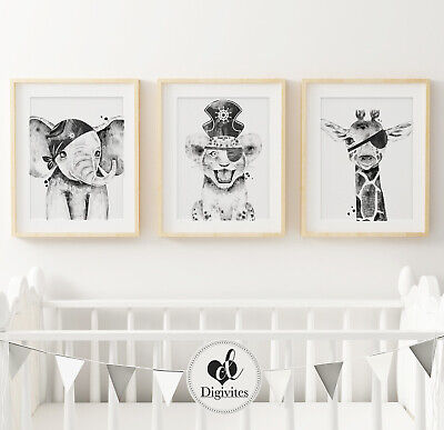 Baby Boy Nursery Bedroom Wall Art prints Pirate Elephant Lion Giraffe safari