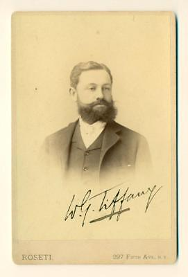 1880 WILLIAM GEORGE TIFFANY AUTOGRAPH SIGNED PORTRAIT NEW YORK CITY NY by ROSETI