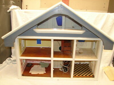 Huge Vintage Handmade Dollhouse Wood 2 Story Home House Lights Store Display