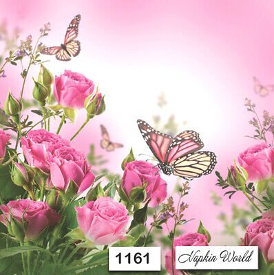 (1161) TWO Individual Paper Luncheon Decoupage Napkins - PINK ROSES BUTTERFLIES