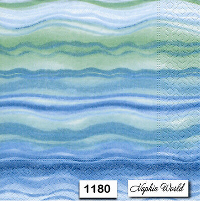 (1180) TWO Individual Paper Luncheon Decoupage Napkins - WATERCOLOR WAVES BLUE
