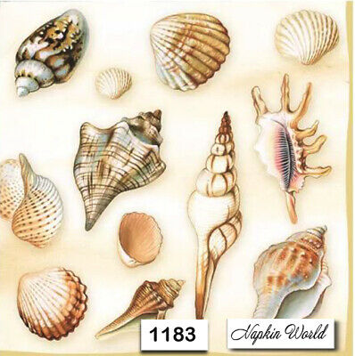 (1183) TWO Individual Paper Luncheon Decoupage Napkins - SEASHELLS SHELLS OCEAN