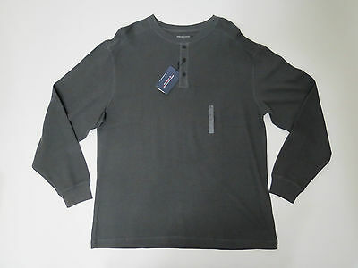 Roundtree & Yorke Mens Grey 3 Button Crew neck Ribbed Knit  LS Shirt Size XL