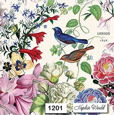 (1201) TWO Individual Paper Luncheon Decoupage Napkins - FLORAL BIRDS FLOWERS
