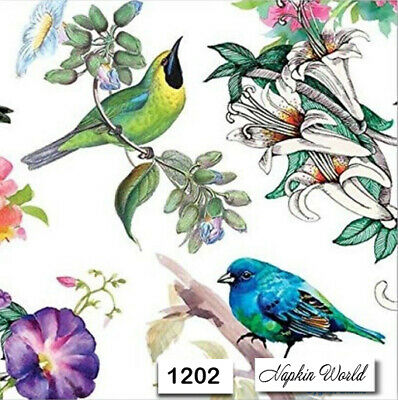 (1202) TWO Individual Paper Luncheon Decoupage Napkins - FLORAL BIRDS FLOWERS