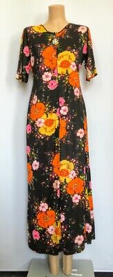 1970's Bright Floral Hippy Maxi Dress Size 14