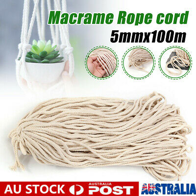 5mm Macrame Rope Natural Cotton Beige Twisted Cord Artisans Hand Craft 100M 【AU】