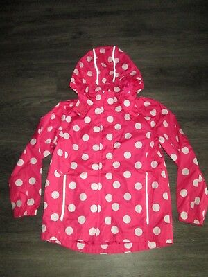 Girls Crane Pink And White Spotted Showerproof Jacket Age 9-10 Yrs Ex.cond