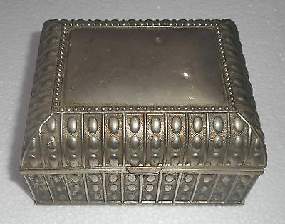 Antique Antimony Jewelry Box Highly Decorated Ornamental Design