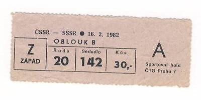 1982 CZECHOSLOVAKIA vs. USSR ice hockey TICKET Soviet Union RARE CCCP