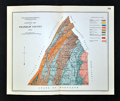 1881 Geological Map - Franklin County Pennsylvania by Lesley Geology Survey PA