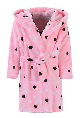 Best for All Girls Polka Dots Printed Flannel Hoodie Robe Fleece Bathrobe with
