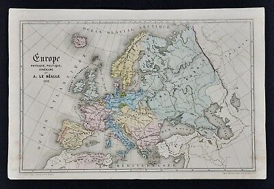 1868 Le Bealle Map - Europe Physical Political France Germany Spain Italy Russia