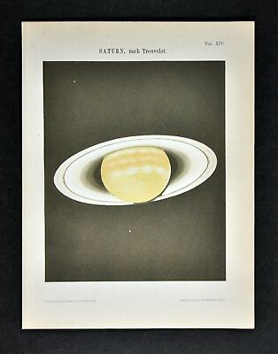 1894 Muller Celestial Map - Saturn with Rings - Solar System Planet Cosmos