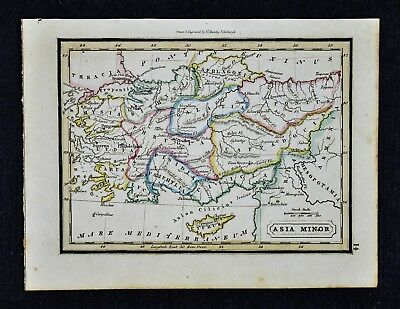 1832 Murphy Map - Ancient Asia Minor  Turkey Cyprus Greece Pergamon Rhodes Samos