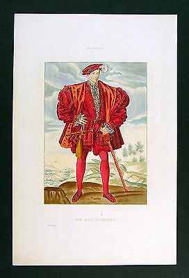 1843 Shaw Print - Earl of Surrey - English Noble Poet - England History Costume