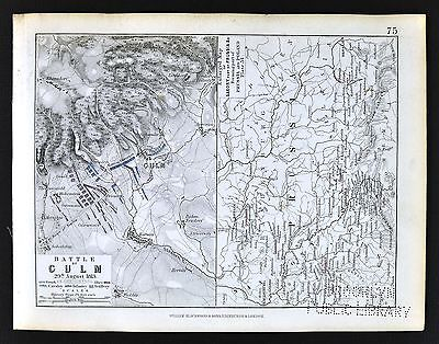 1850 Johnston Military Map - Napoleon Battle of Culm 1813 & Prussia Kulm Bohemia