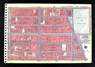 1955 Bromley New York City Map Chelsea Gramercy Park Madison Square Broadway 7th