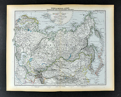 1892 Stieler Map Russia Siberia Asia China Japan Mongolia Turkestan Korea Iran