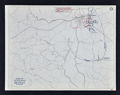 West Point Civil War Map - Siege of Petersburg - Battle of the Crater - Virginia