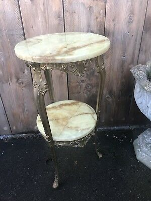Vintage French Solid Brass & Marble 2 Tier Table Ornate Decoration