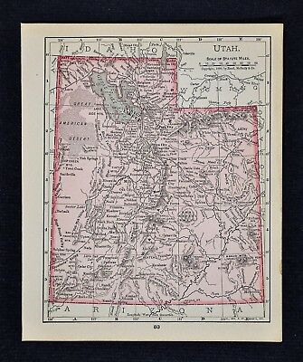 1900 McNally Map  Utah Salt Lake City Provo Ogden Moab Castle Valley Manti Nephi