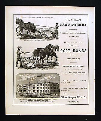 1876 Illinois Chicago Scraper Ditcher Company Atlas Advertisement Graders