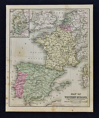 1887 Cowperthwait Map - West Europe - Spain Portugal France Belgium Holland