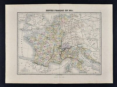 1877 Migeon Map - France in 1811 - Italy Germany Belgium Holland Napoleon Europe