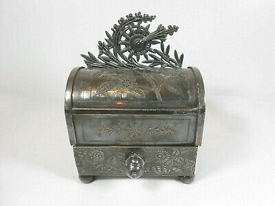 Antique Meriden mechanical jewelry box, quadruple silver plate, floral designs