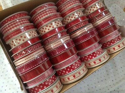 RED / IVORY Ribbon - 10 & 15mm - 12 designs on mini reels  *SEE MULTI BUY OFFER*