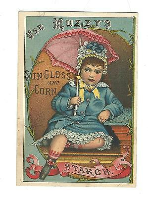 Old Trade Card Muzzy's Sun Gloss and Corn Starch Girl Pink Parasol
