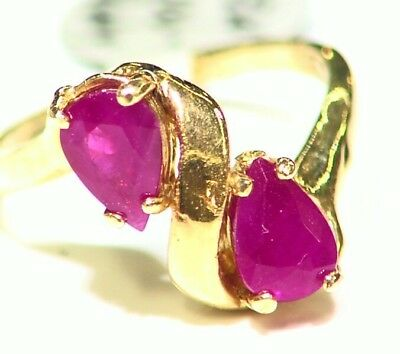 Vintage 1.50CT 14K Solid Yellow Gold Natural Ruby Engagement Ring Designer Deco