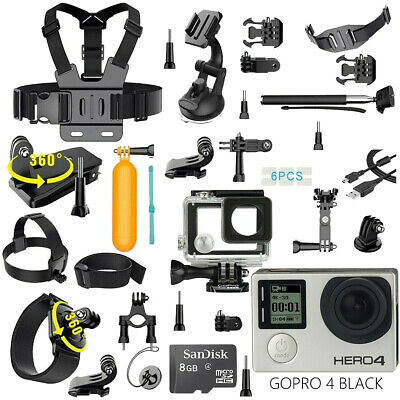 GoPro HERO 4 Black Edition Camera + 40 PCS Sports Accessory Kit Complete Bundle