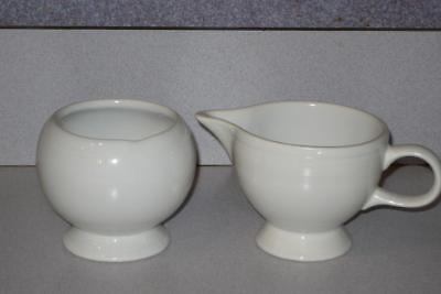 Fiesta Ware White Sugar Bowl and Creamer Set Unmarked