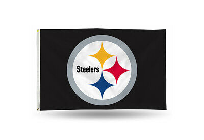 """Brand New NFL  Pittsburgh Steelers  Large 3' X 5"""" Outdoor Team Logo  Banner Flag"""
