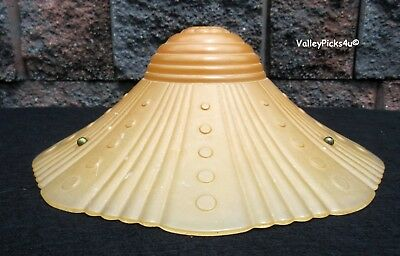 Vintage ART DECO Glass Flying Saucer Chandelier Ceiling Light Fixture SHADE
