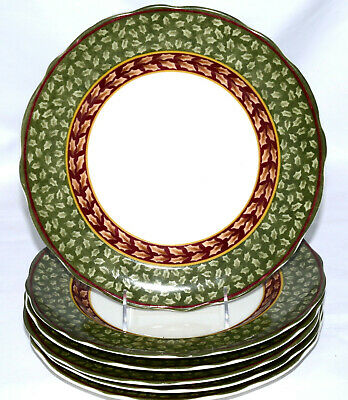 Charter Club Winter Garland * 6 ACCENT DINNER PLATES * Christmas, EXC!