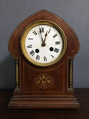 Antique-French Mahogany/Sycamore Day Pendulum Clock Japy Freres