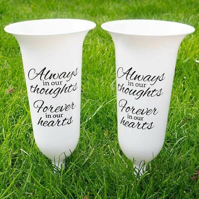 Set of 2 White Forever in Our Hearts Fluted Spiked Memorial Grave Flower Vases
