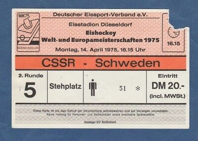 TOP Orig.Ticket  Eishockey WM Deutschland 1975  Finalrunde  USA CSSR  !