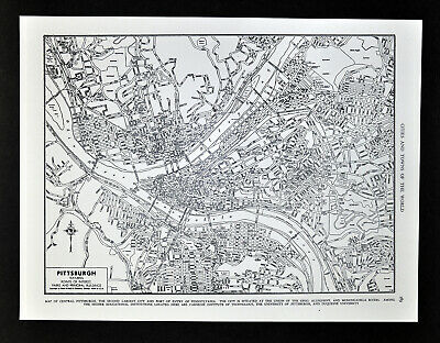 c 1930 Rand McNally Map Pittsburgh Plan Downtown Point Ohio River Pennsylvania