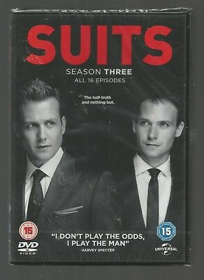 SUITS - SEASON 3 - sealed/new UK REGION 2 DVD (4-DISC SET) - all 16 episodes