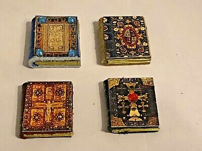 Set Of 4 Tudor Medieval  Leather  Books For A 1/12 Scale Dolls House