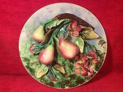 Wall Platter Antique French Majolica Palissy Pears & Flowers Wall Plaque, fm1093