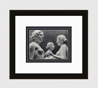 "Beautiful FRAMED 1930s Blumenfeld Antique Photogravure ""The Three Nymphs"" COA"