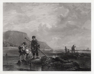 "Nice WILLIAM COLLINS 1800s Engraving ""Hastings Prawn Fishers"" SIGNED Framed COA"