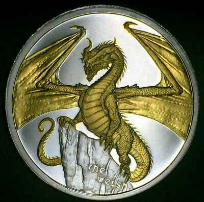 2019 The Welsh World Of Dragons Silver 1 Ounce Round 1oz 24k Gold Series#2