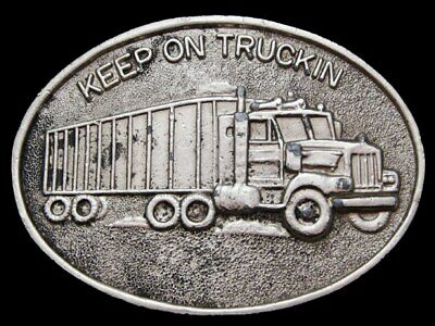 KF21147 VERY COOL VINTAGE 1970s ***KEEP ON TRUCKIN'*** PEWTER BELT BUCKLE